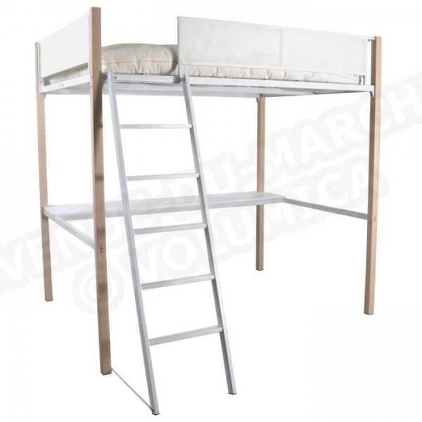 boost lit mezzanine haut de gamme 140x190 cm m tal blanc aucune. Black Bedroom Furniture Sets. Home Design Ideas