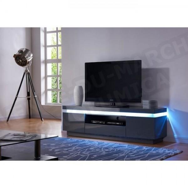 Flash Meuble Tv Laque Gris Avec Leds Blanches 165cm Aucune