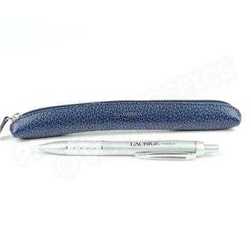 Etui stylo à zip cuir